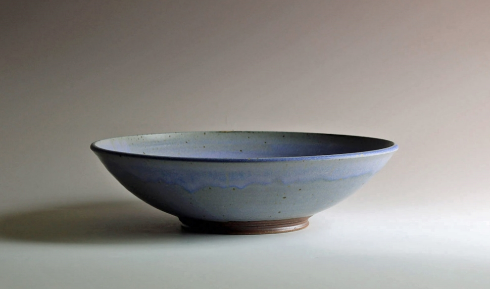 Serving bowl with blue glaze