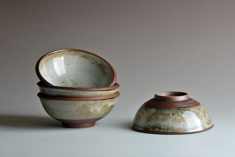 Soup bowls with white shino glaze
