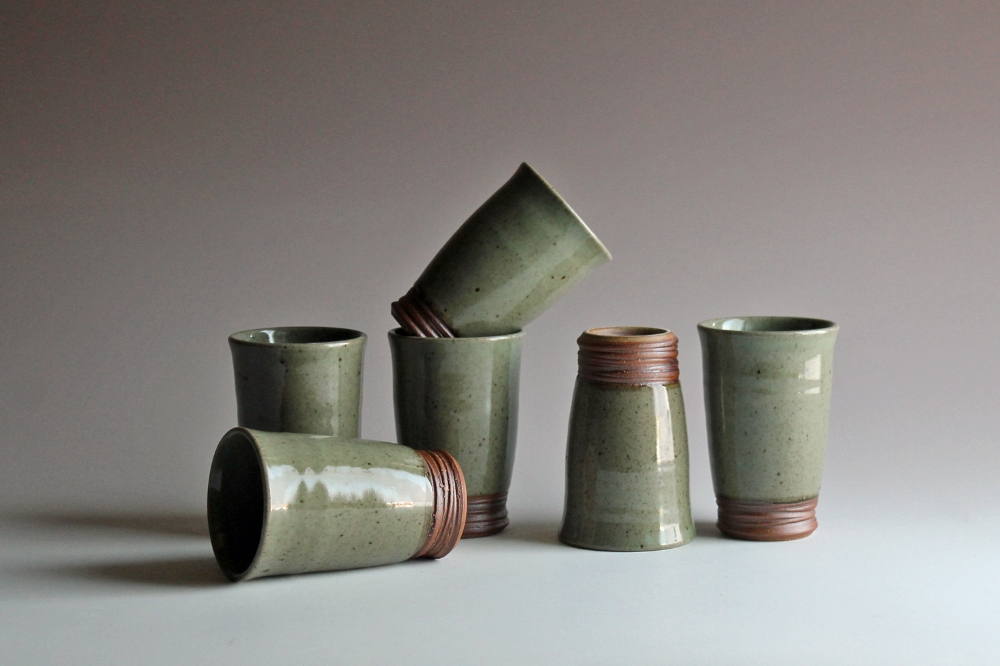 Tumblers with celadon glaze