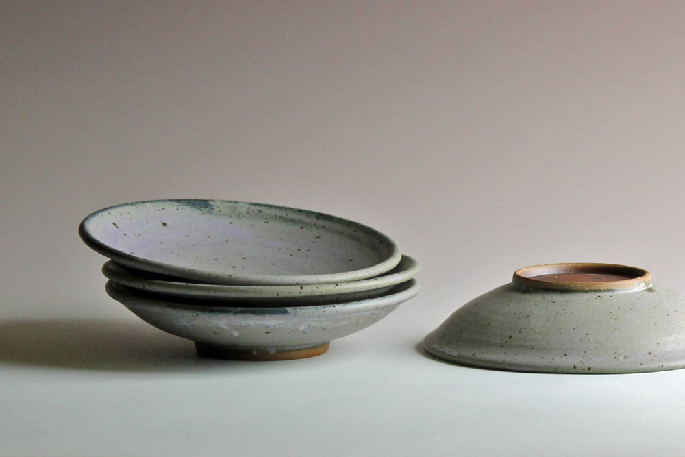 stoneware bowls with blue glaze