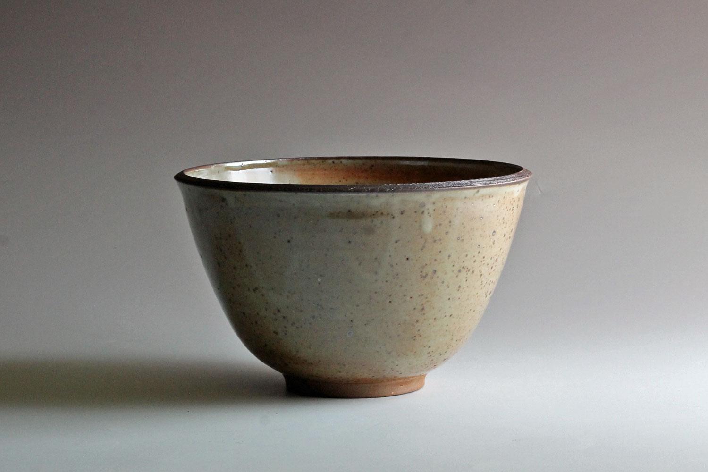 stoneware bowl with shino glaze