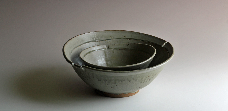 nesting stoneware bowls with ash glaze