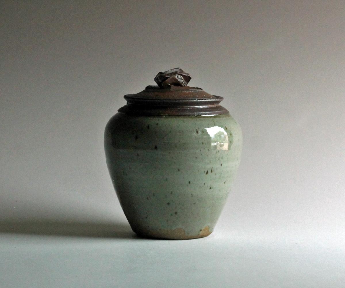 stoneware jar celadon glaze