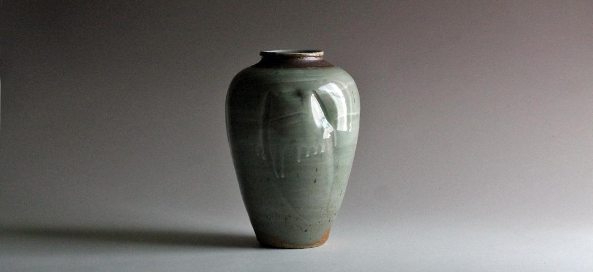 green river pottery stoneware vase with celadon glaze