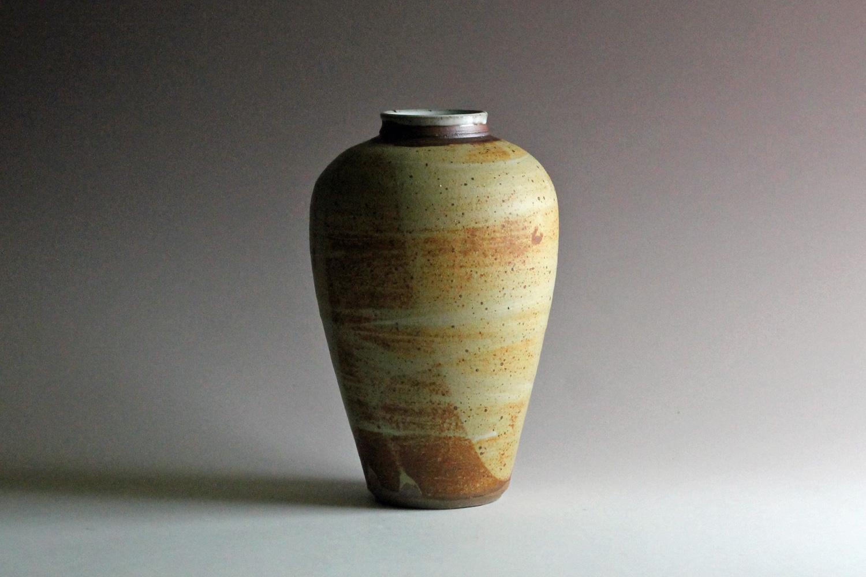 stoneware vase with ash glaze santa fe nm