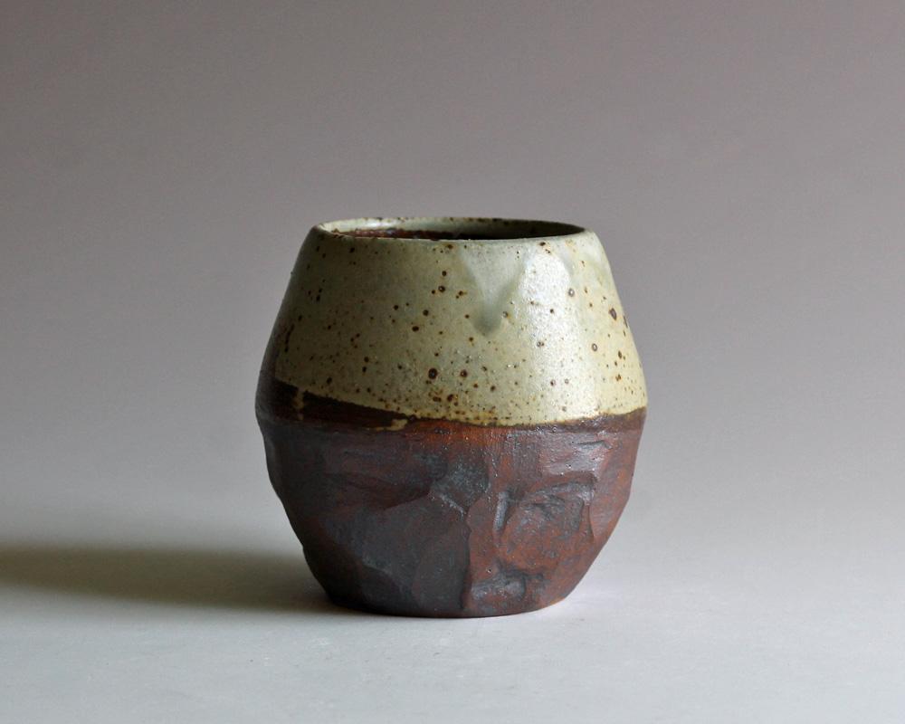 stoneware vase with ash glaze
