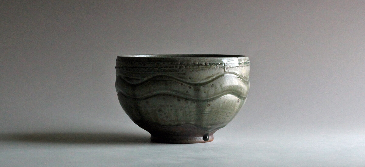 stoneware bowl with wood ash glaze, November 2019. click to view in shop