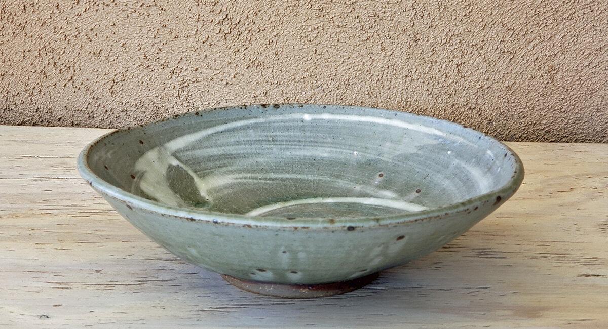 stoneware bowl ash glaze green river pottery santa fe