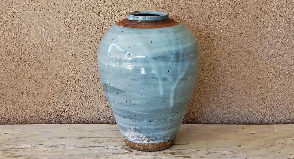 wheel-thrown vase bernard leach celadon glaze