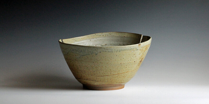 wheel thrown altered stoneware bowl