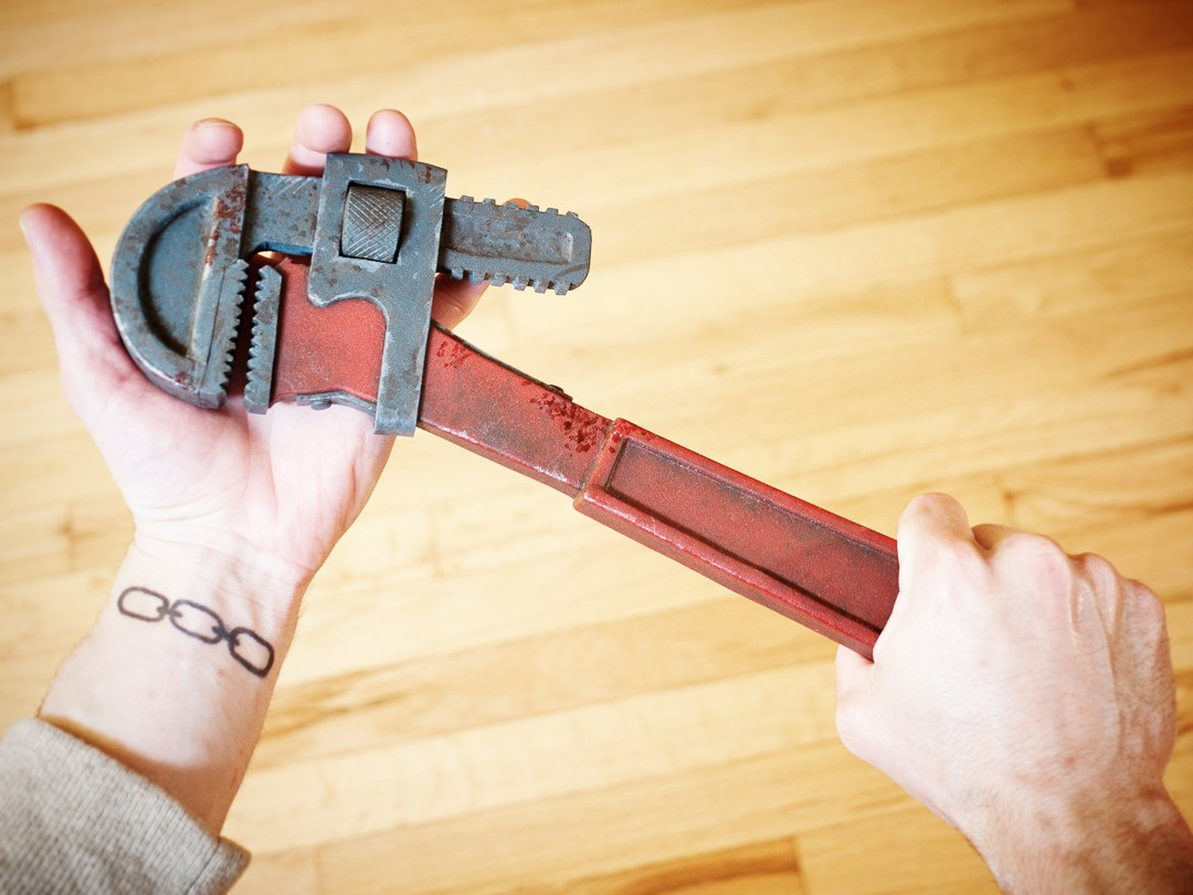 Bioshock Pipe Wrench Prop Replica with Tattoo