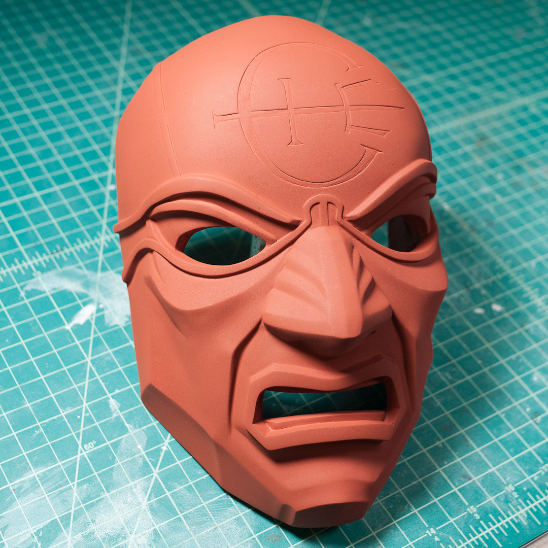 Dishonored Overseer mask primed with Krylon