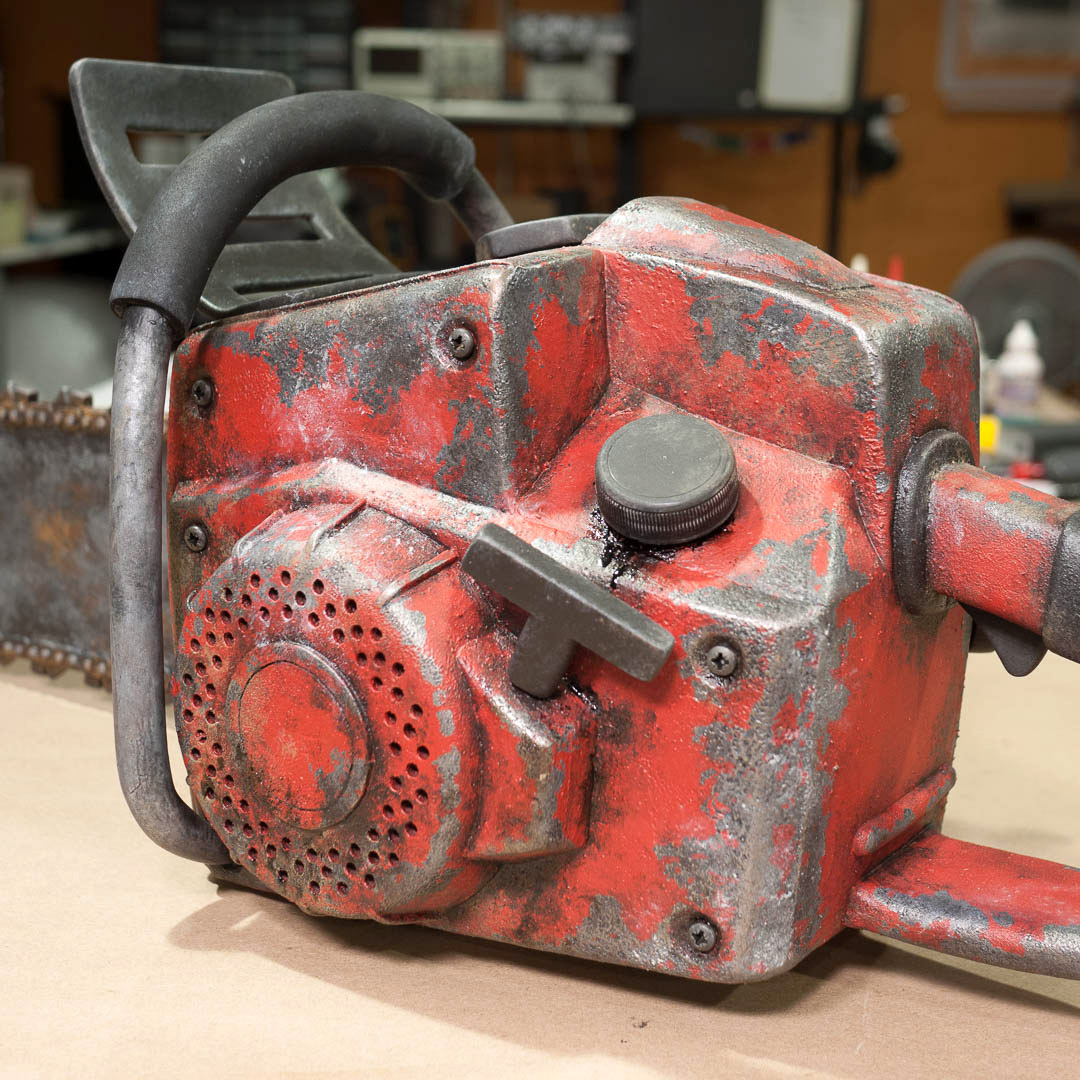 Foam chainsaw prop closeup left