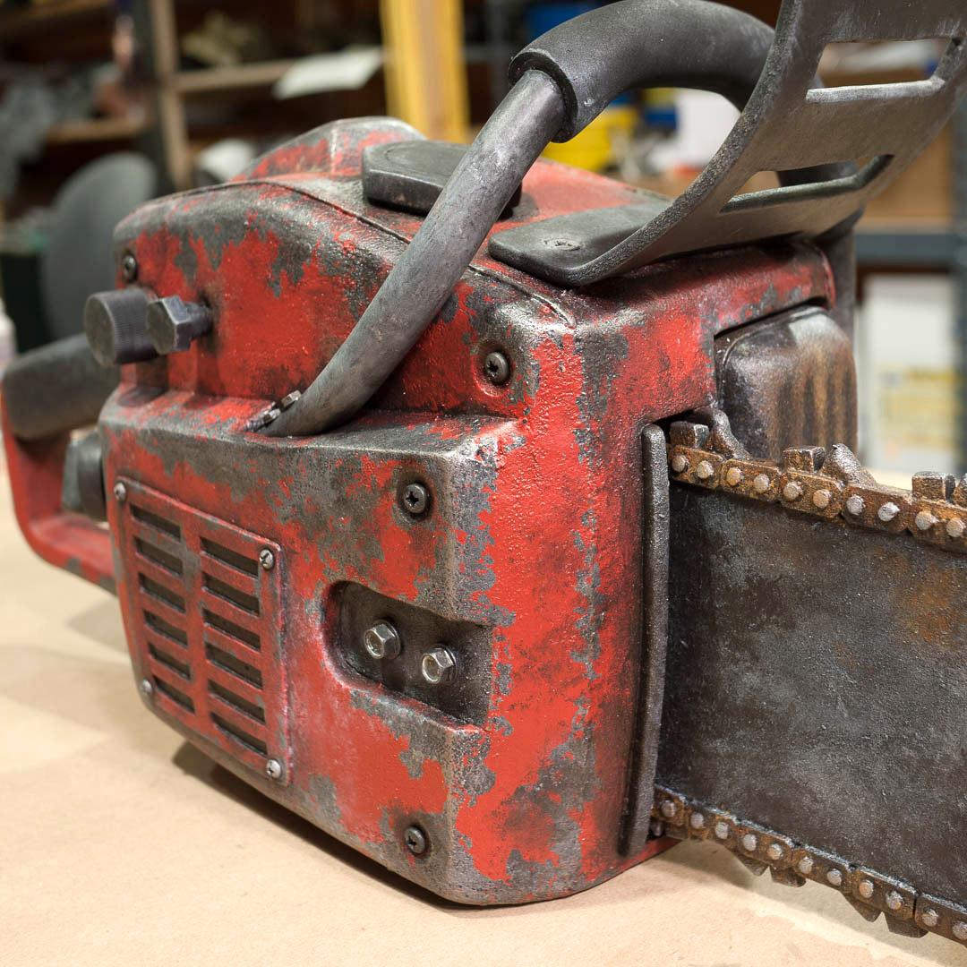 Foam chainsaw prop closeup right