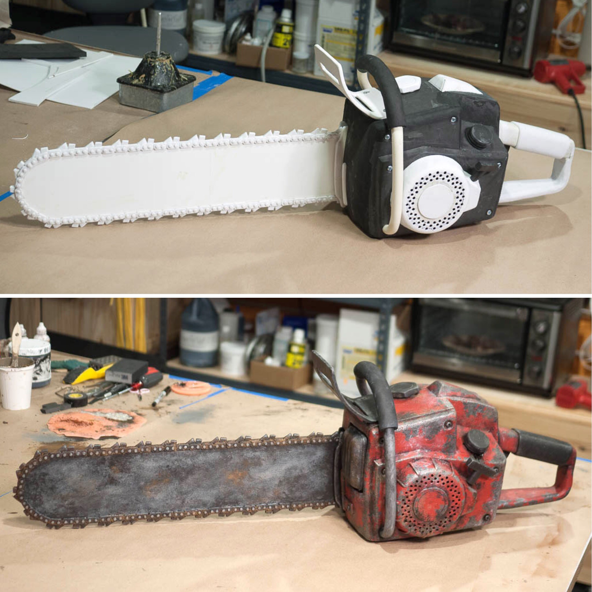 Foam chainsaw prop before and after painting