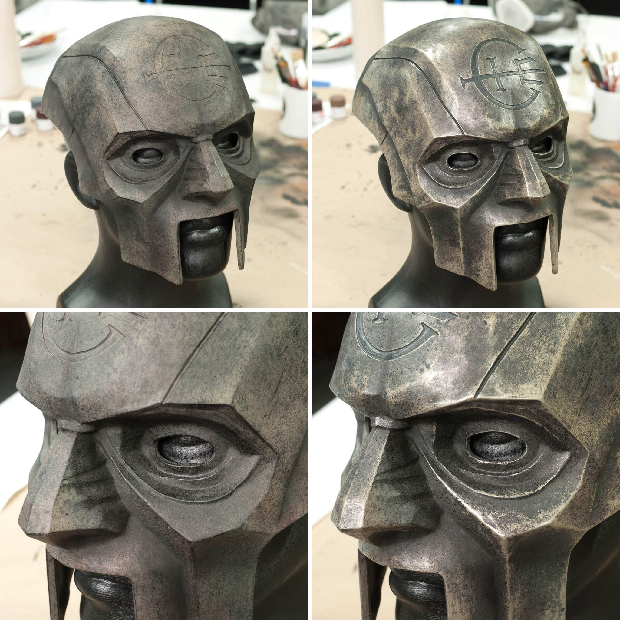 Dishonored 2 Overseer Mask before and after weathering
