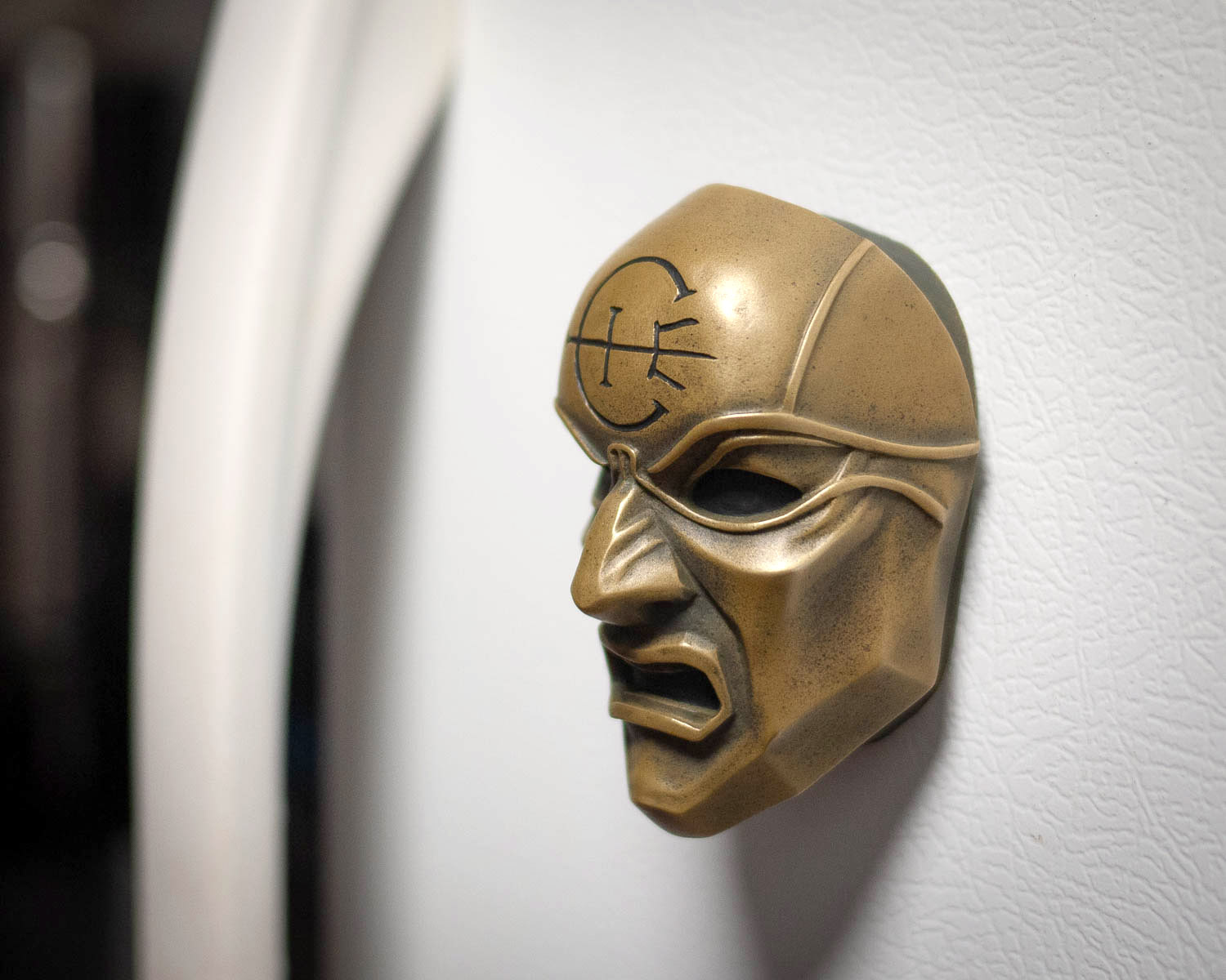 Dishonored Overseer Mini Mask Magnet on Refrigerator