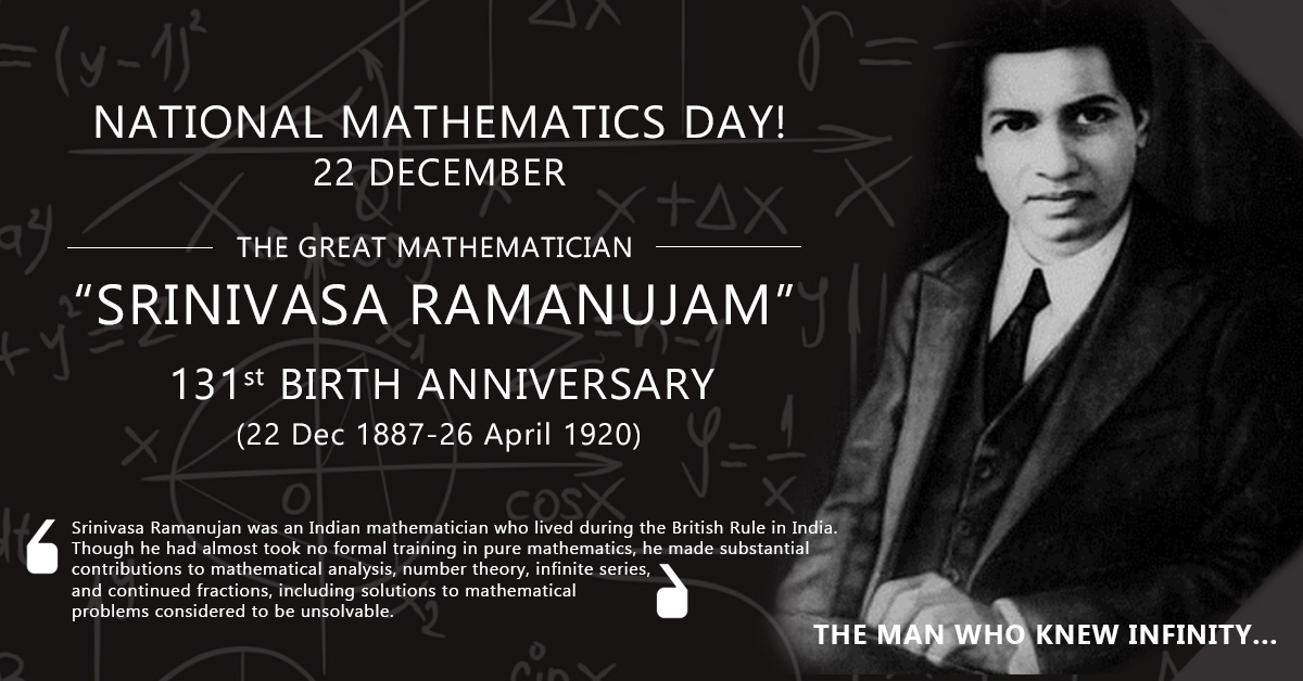 SRINIVASA RAMANUJAM  (22nd Dec 1887 - 26th April 1920)