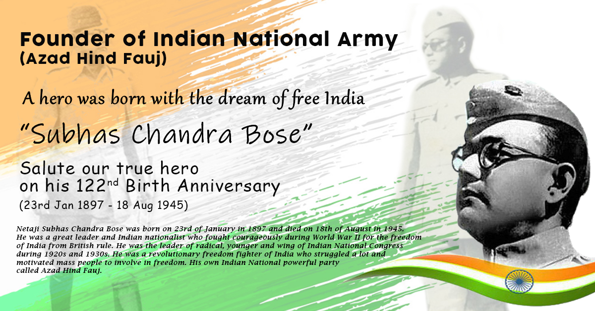 SUBHAS CHANDRA BOSE  (23rd Jan 1897 - 18th Aug 1945)