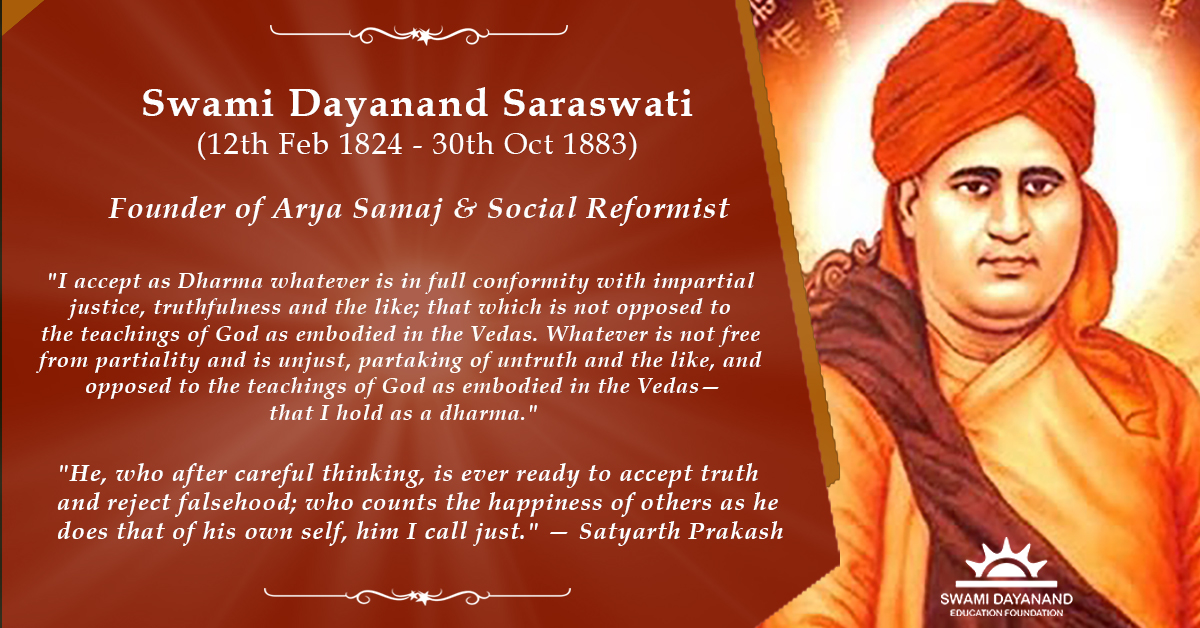 SWAMI DAYANAND SARASWATI  (12th Feb 1824 - 30th Oct 1883)