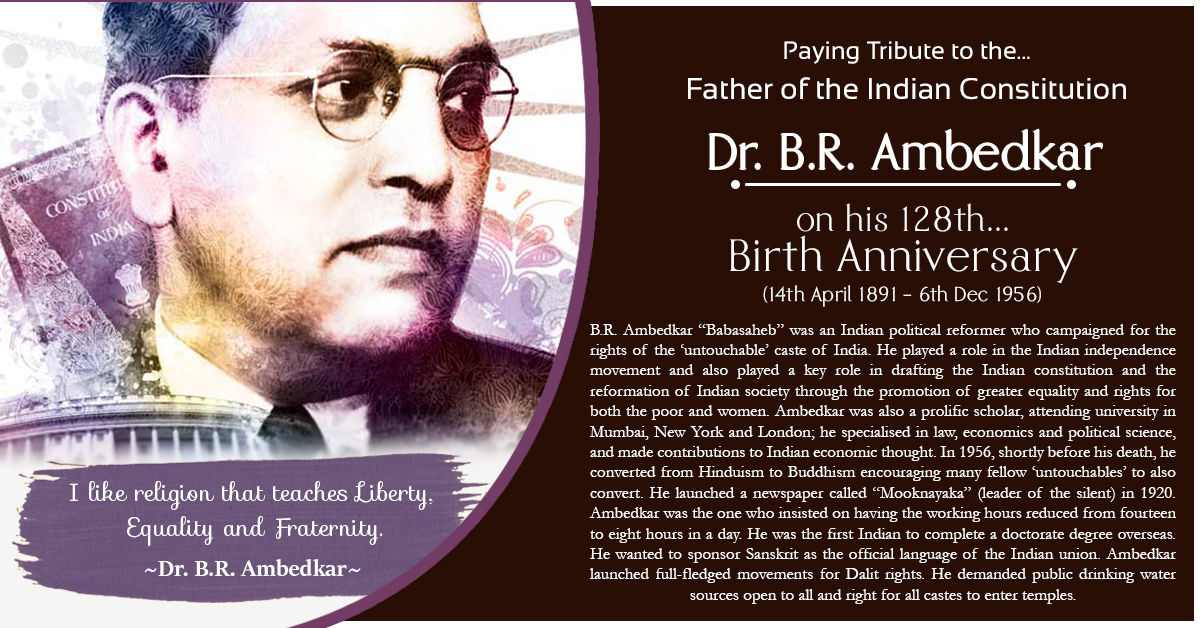 Dr. B.R. AMBEDKAR  (14th Apr 1891 - 6th Dec 1956)