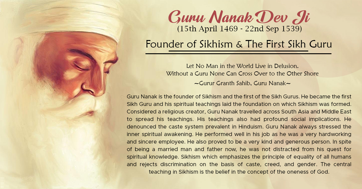 GURU NANAK DEV JI  (15th Apr 1469 - 22nd Sep 1539)