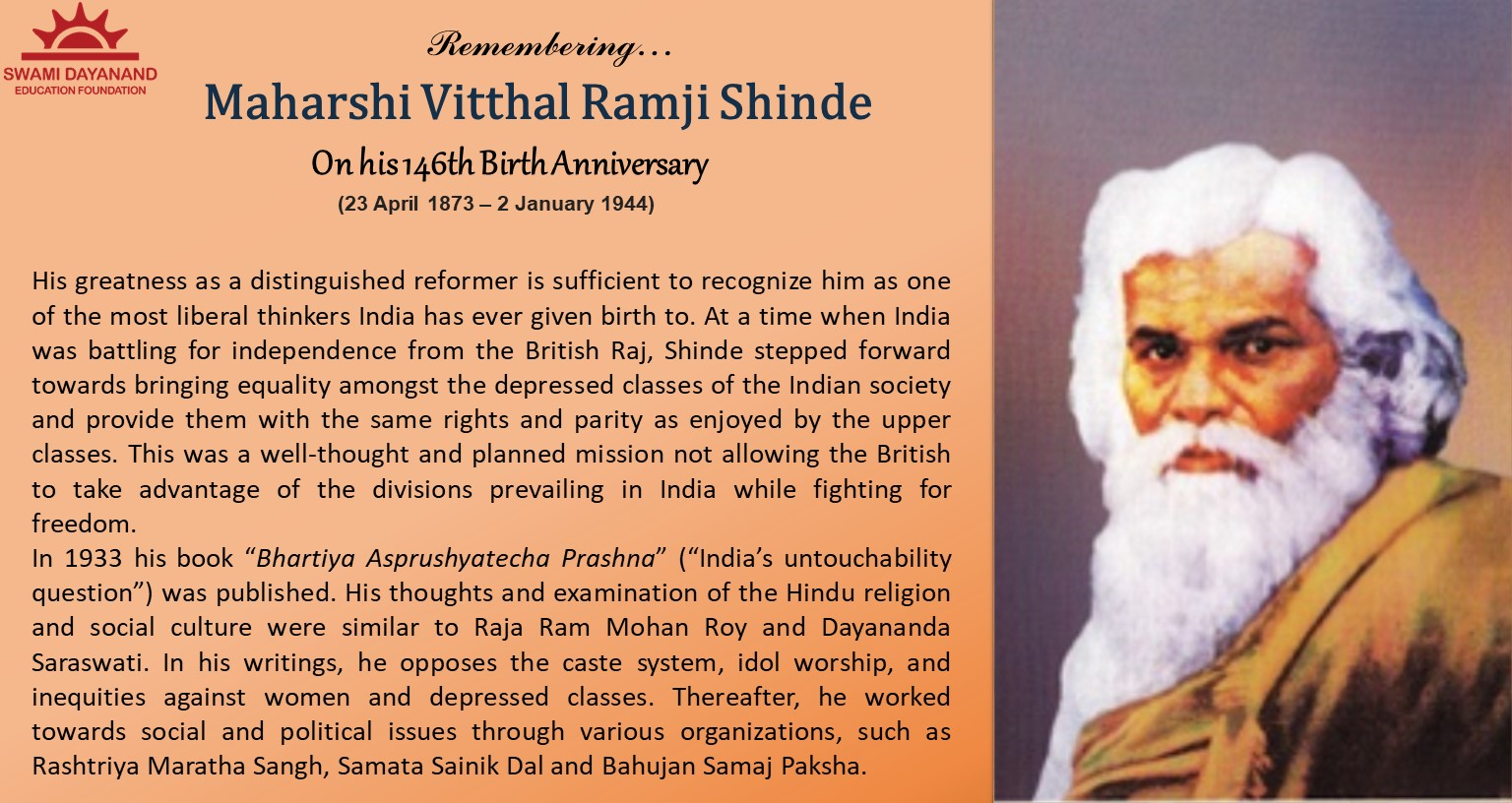 MAHARSHI VITTHAL RAMJI SHINDE  (23rd Apr 1873 - 2nd Jan 1944)