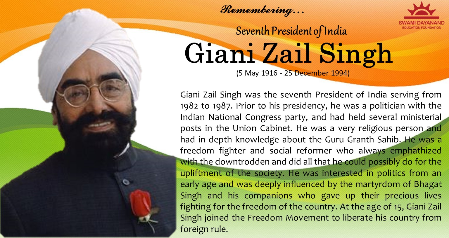 GIANI ZAIL SINGH  (5th May 1916 - 25th Dec 1994)