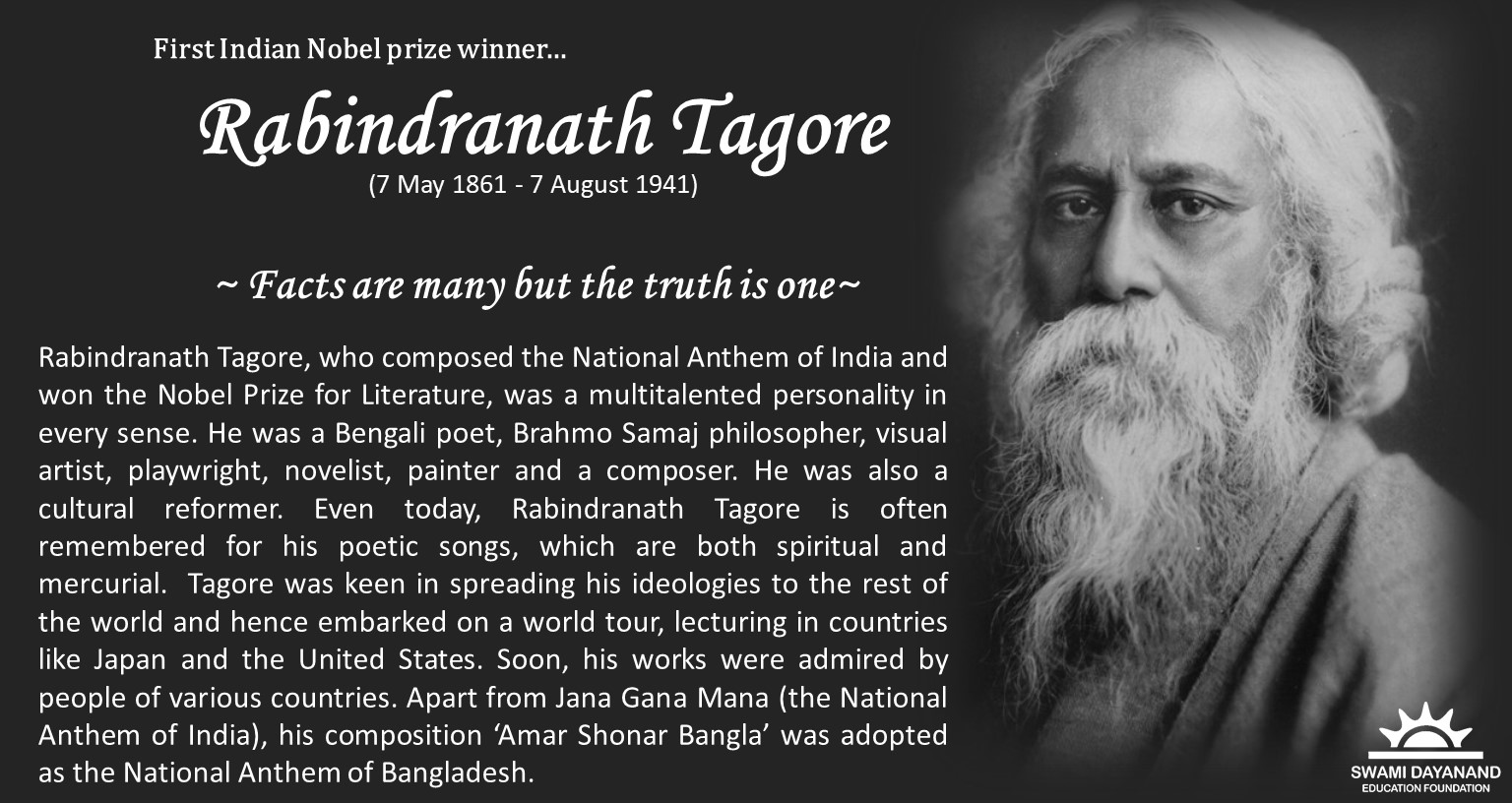 RABINDRANATH TAGORE  (7th May 1861 - 7th Aug 1941)