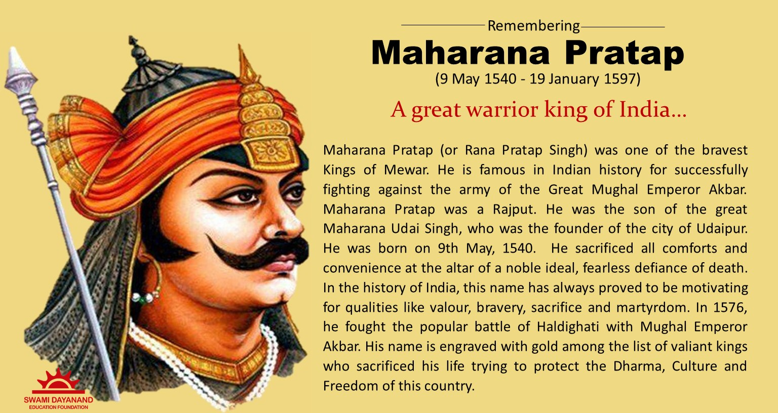 MAHARANA PRATAP  (9th May 1540 - 19th Jan 1597)