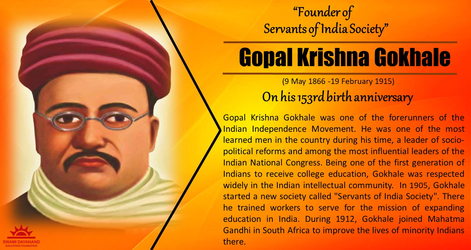 GOPAL KRISHNA GOKHALE  (9th May 1866 - 19th Feb 1915)