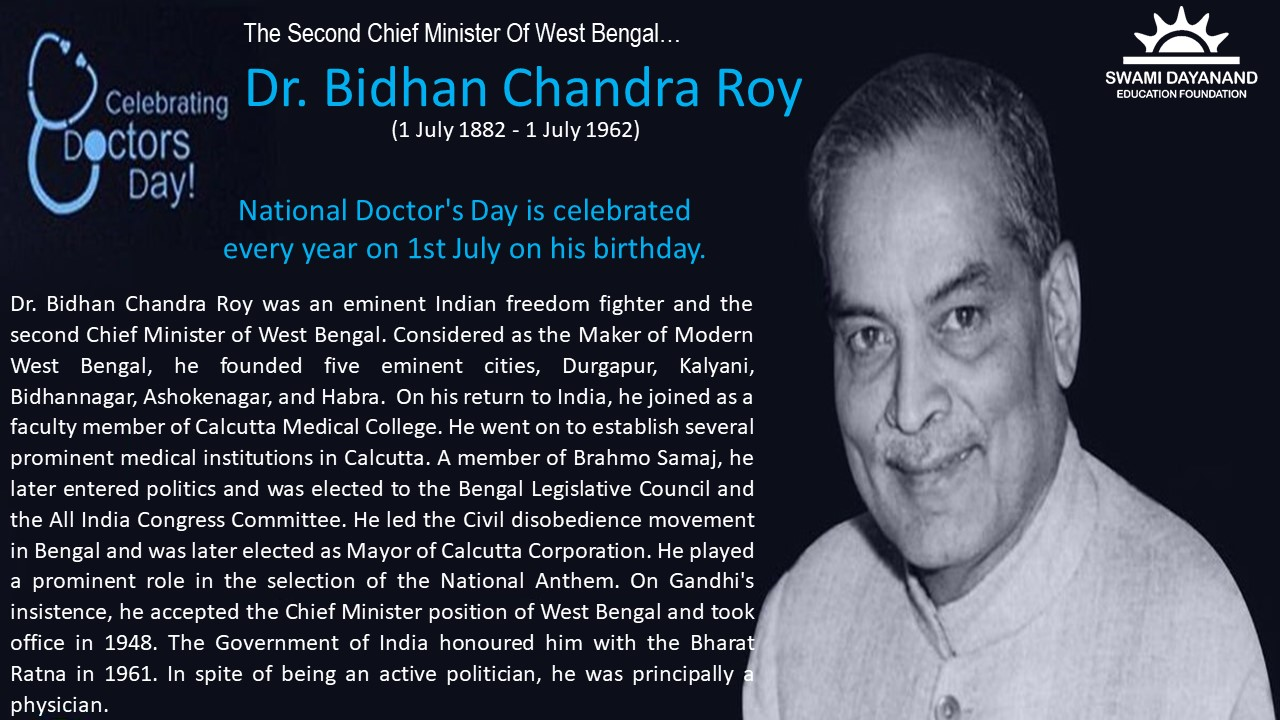 Dr. BIDHAN CHANDRA ROY  (1st July 1882 - 1st July 1962)