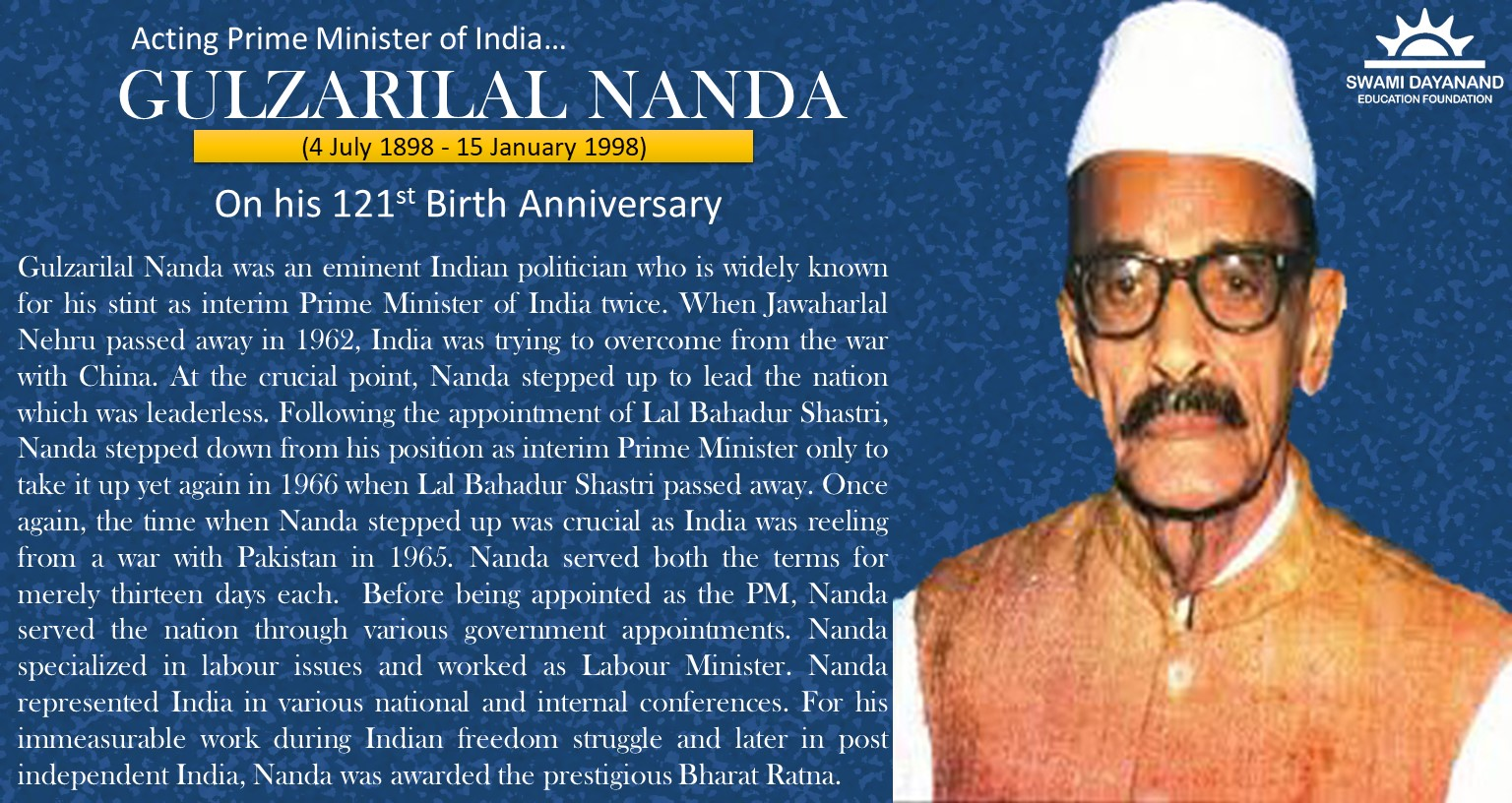 GULZARILAL NANDA  (4th July 1898 - 15th January 1998)