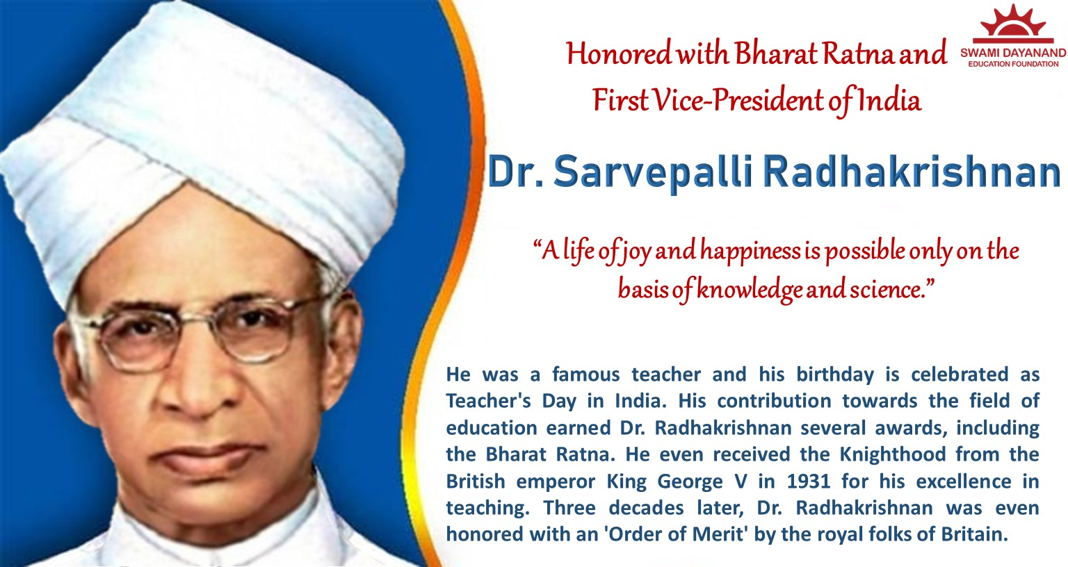 DR. SARVEPALLI RADHAKRISHNAN  (5TH SEPTEMBER 1888)