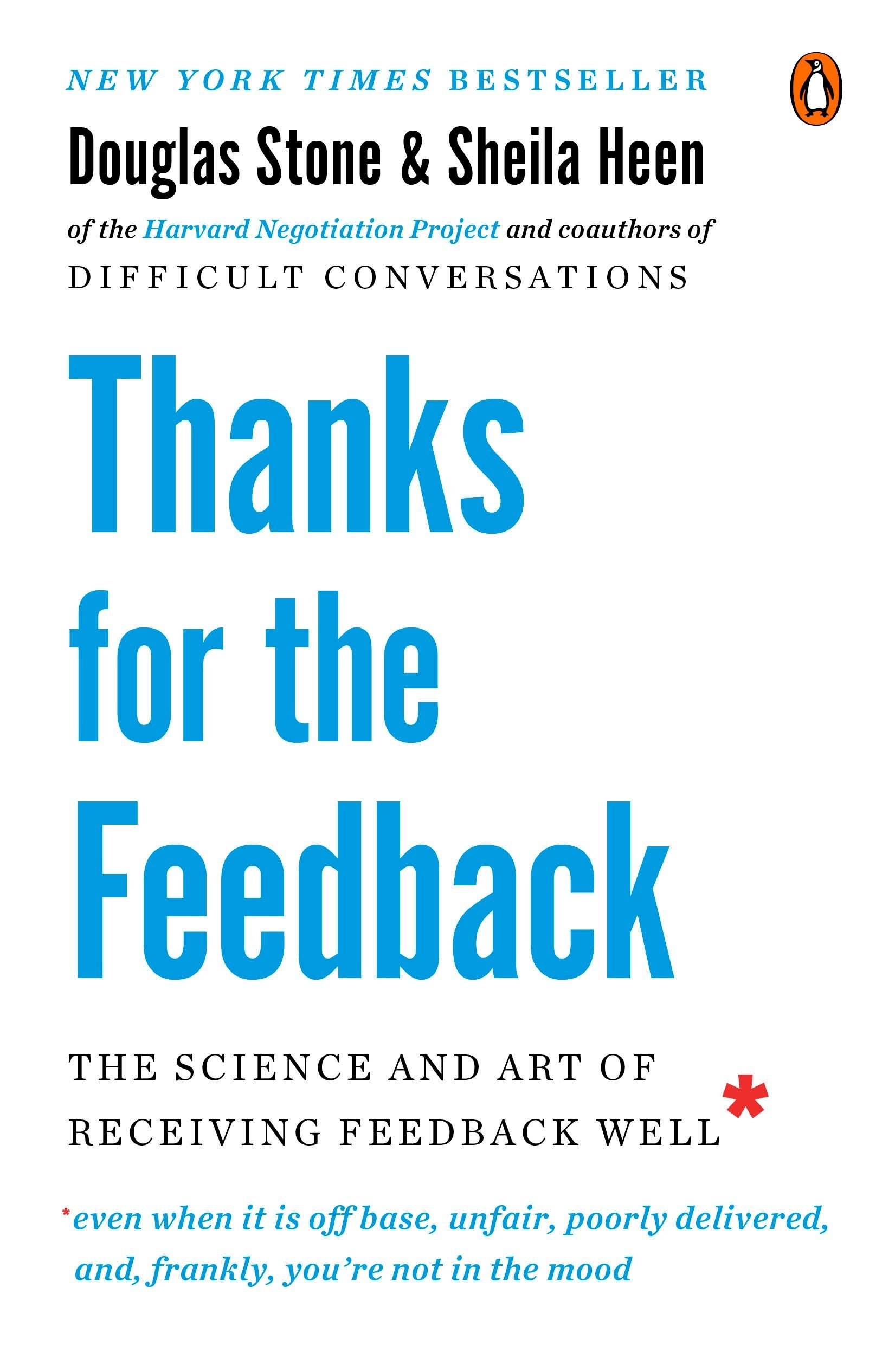 Thanks for the Feedback: The Science and Art of Receiving Feedback Well - Feedback is critical in order to grow and succeed in both your professional and personal life. This book's thesis is that a productive feedback exchange is primarily on the receiver, not the giver. The authors break down the different way feedback can trigger the receiver, and how to better understand, respond to, and act on feedback.