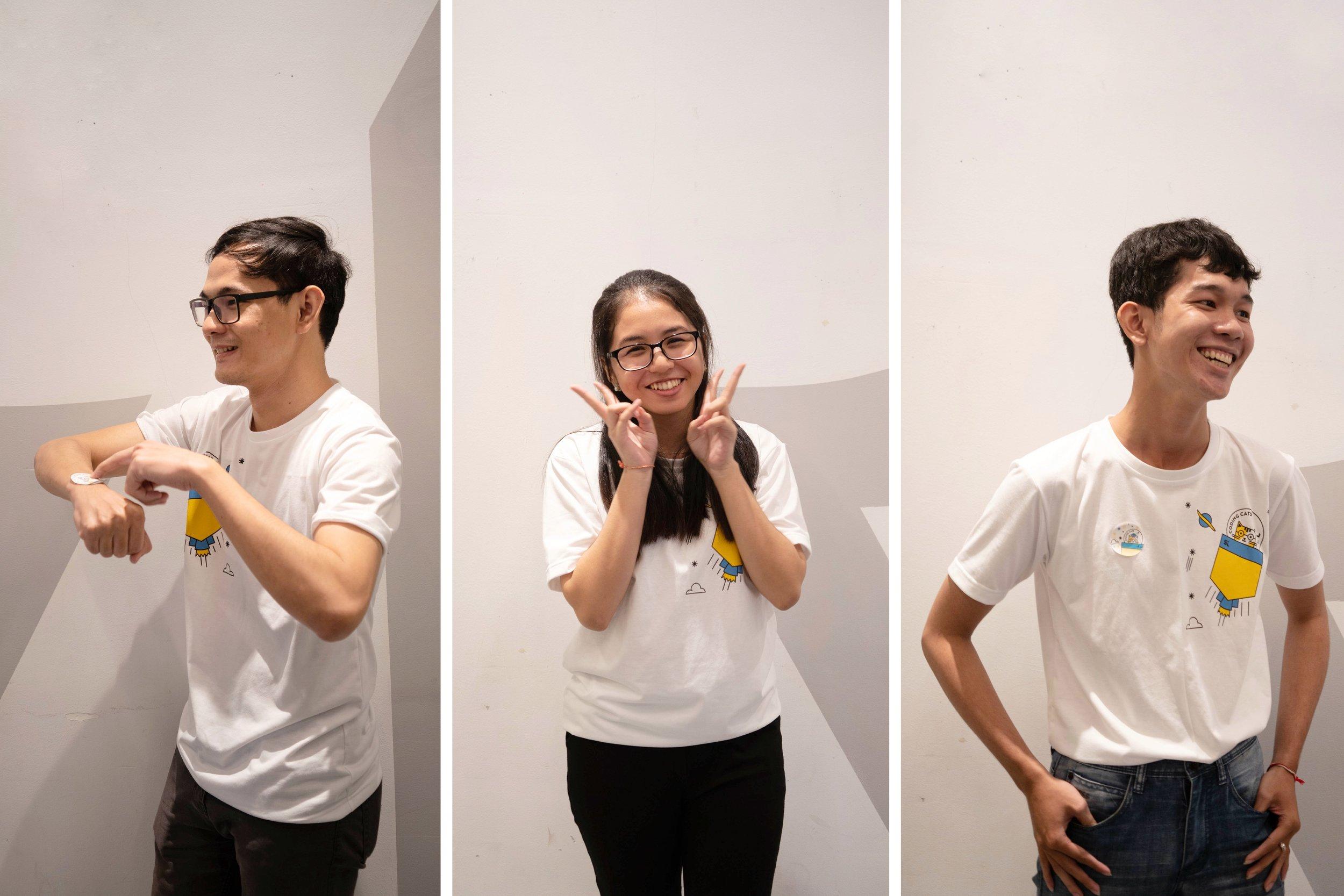 Our hero translator instructors: Sokunthearith Makara, Chandalya Lim, and Lyladang Sut