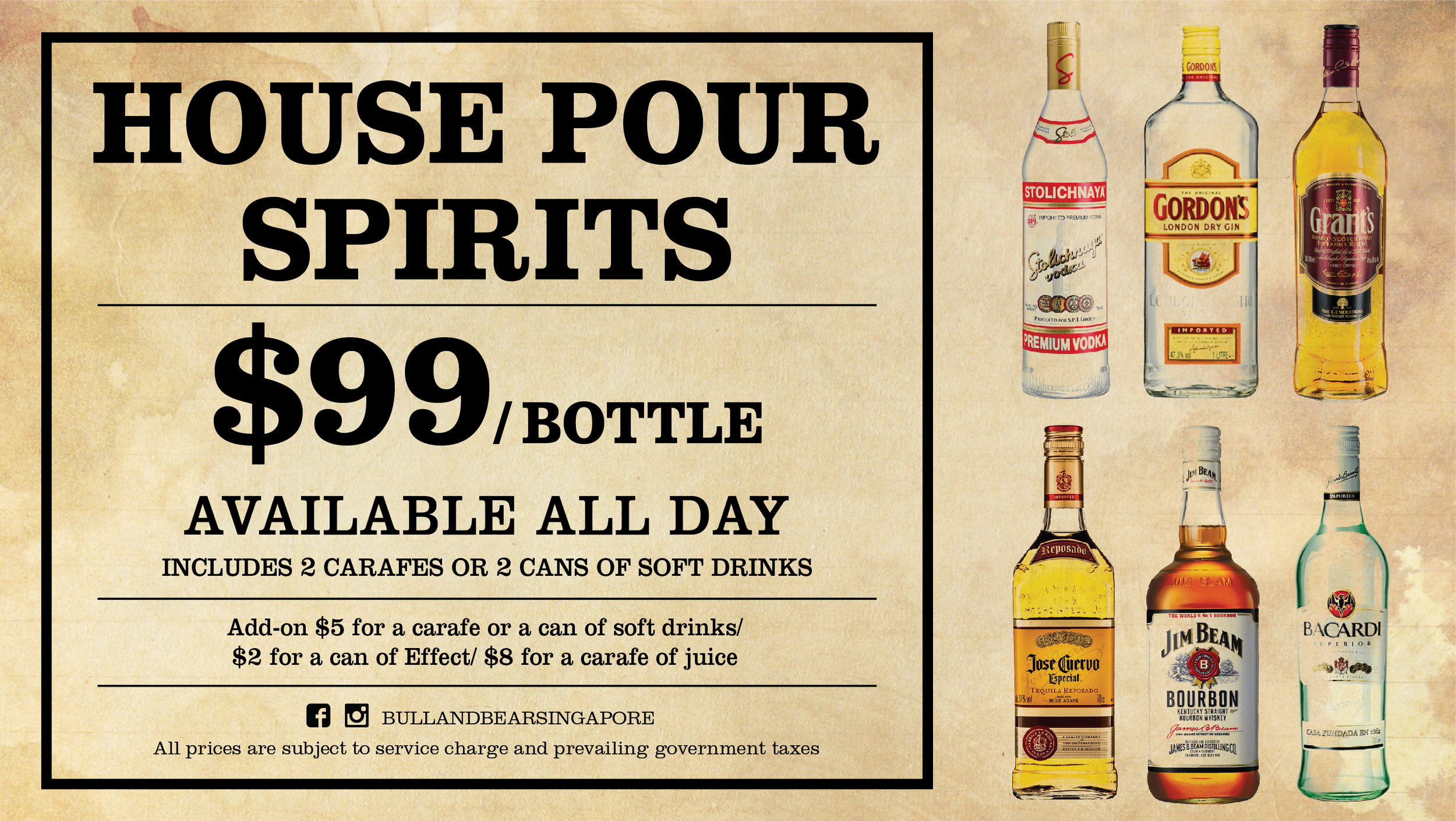 Bottles of House Pour Spirits