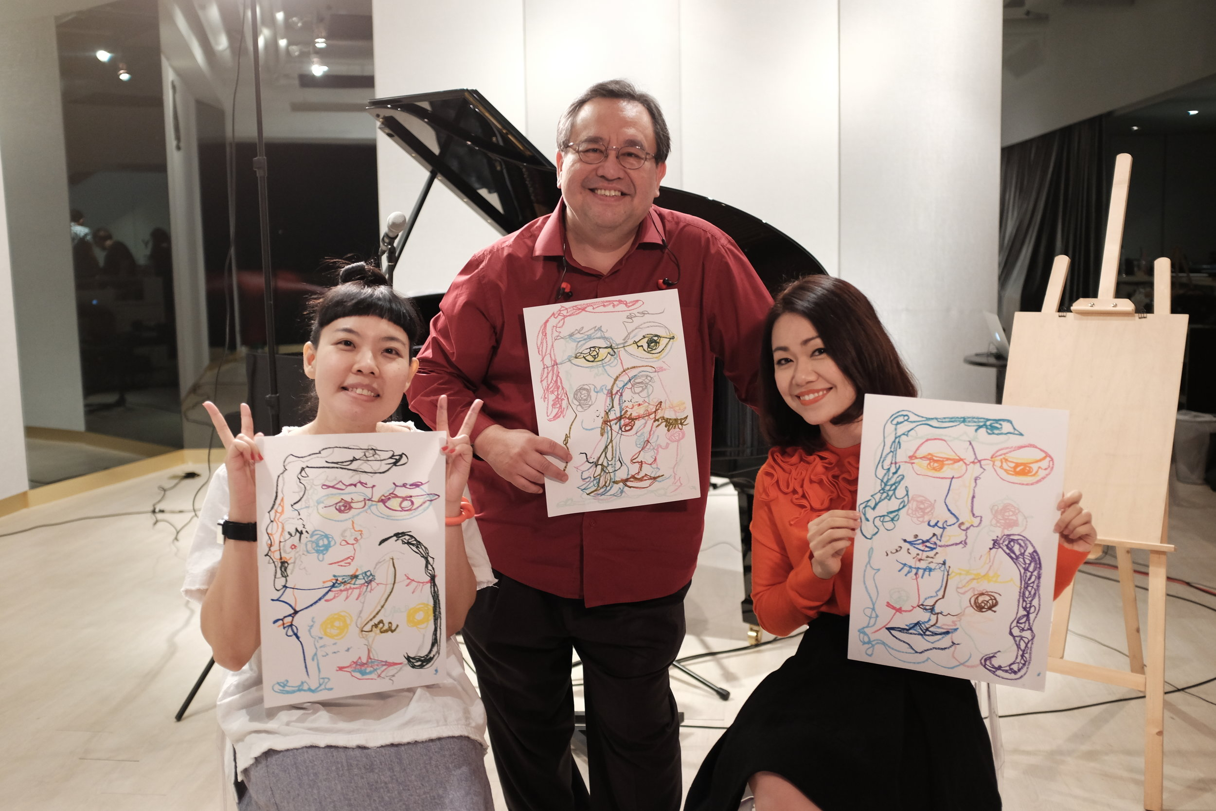 Pianist Jeremy monteiro (middle), singer joanna dong (right), and artist noreen loh (left).Photography by Nicholas tang.