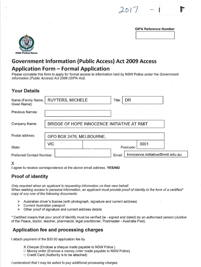 GIPA Applications - Government Information (Public Access) Act 2009 (NSW)