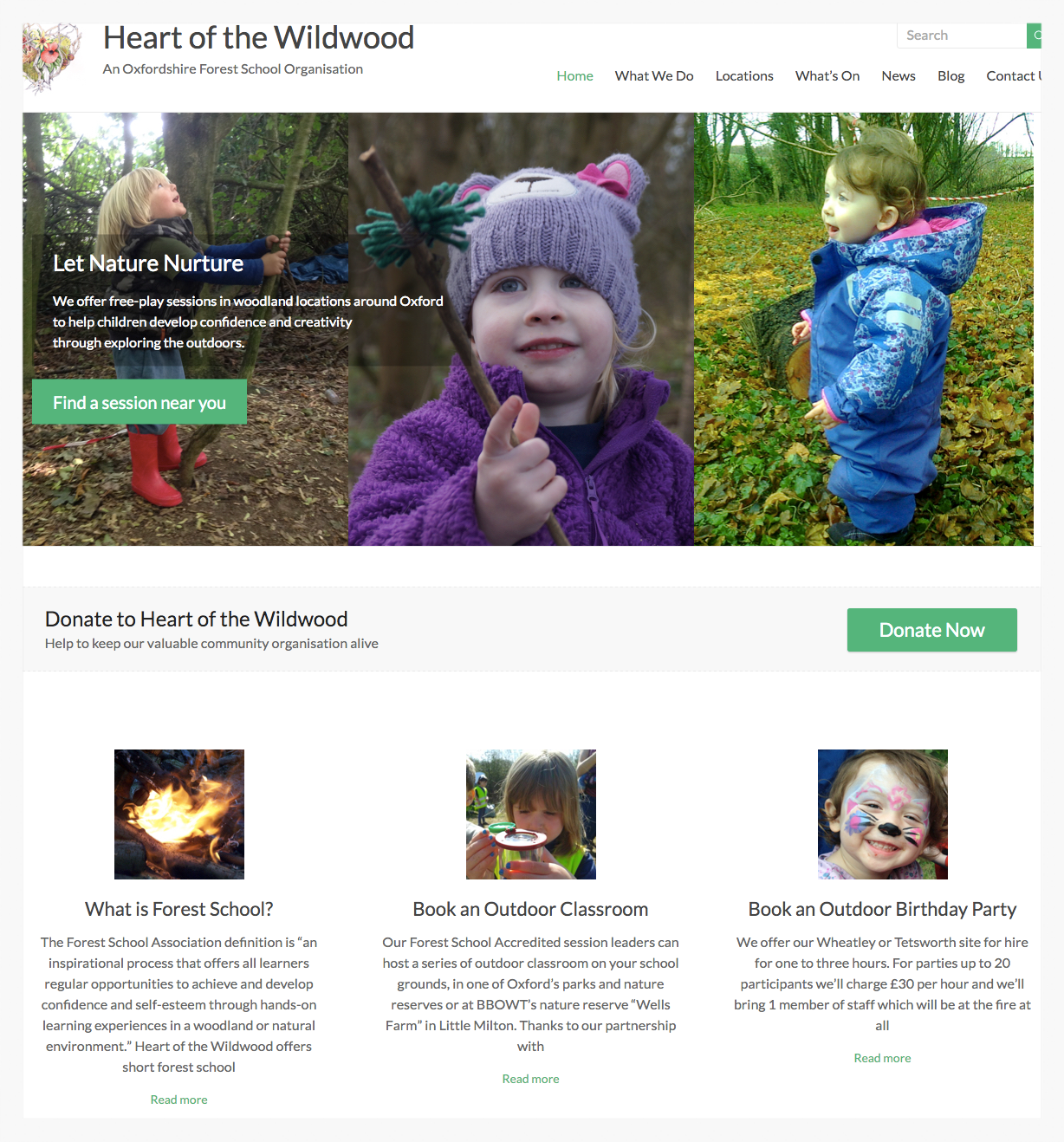 I designed and built an informative new website that inspires parents to join sessions using images of children enjoying being at Forest School.