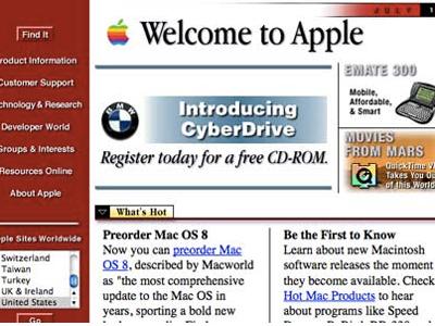 Apple's homepage, circa 1997