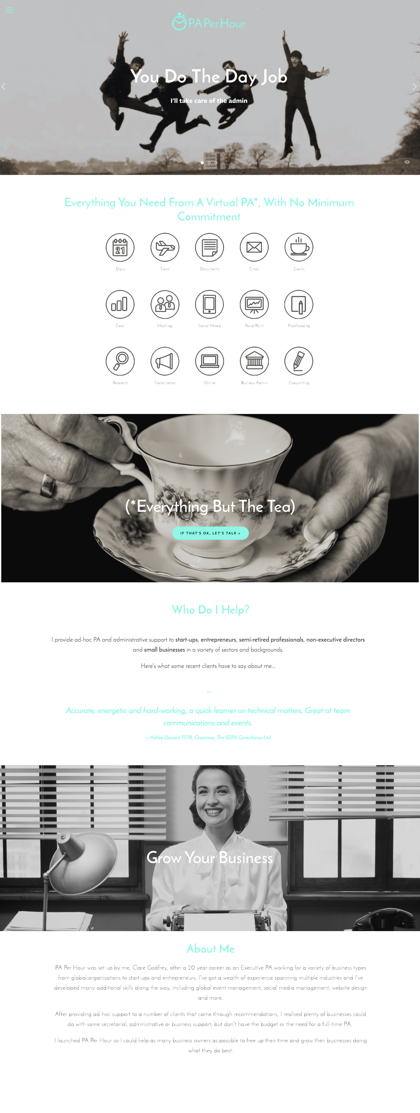 The new website uses retro black and white images to feature the biggest benefits of using a virtual PA. It suits PA Per Hour's laid-back yet client-driven style.
