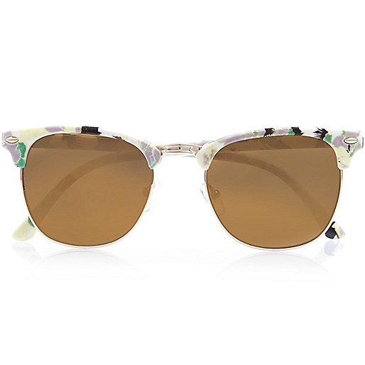 White floral print retro sunglasses £10