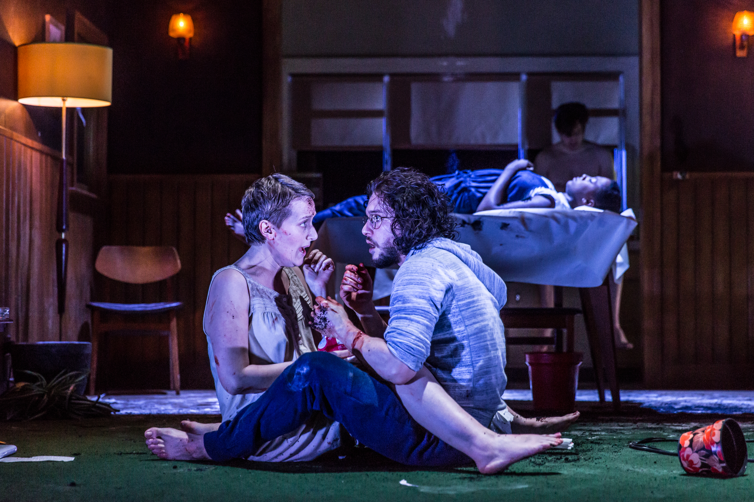 Jenna Russell and Kit Harington as Mephistopheles and Dr Faustus