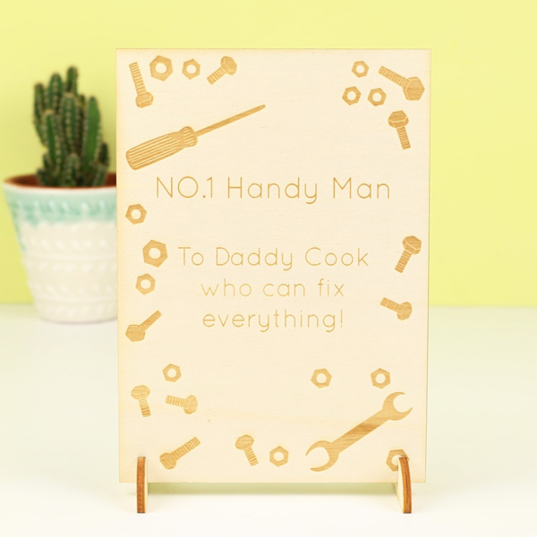 LISA ANGEL ENGRAVED 'HANDY MAN DAD' WOODEN CARD , £8
