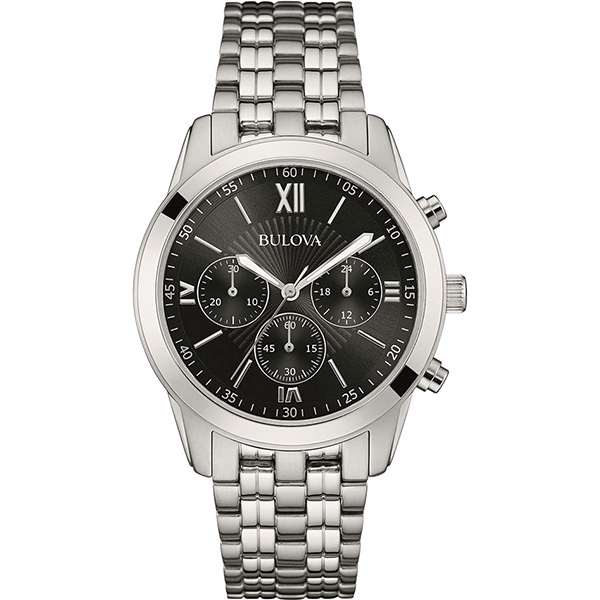 BULOVA MENS SILVER TONE CHRONOGRAPH WATCH , £64.99 (RRP £199)  USE DISCOUNT CODE 'SB1'