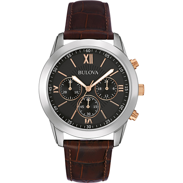 BULOVA MENS DRESS BROWN LEATHER CHRONOGRAPH WATCH , £87 (RRP £199)  USE DISCOUNT CODE 'SB2'