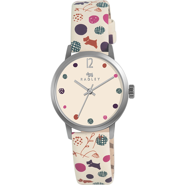 RADLEY LADIES CREAM DOTTY DOG LEATHER STRAP WATCH , £39.99 (RRP £65)    USE DISCOUNT CODE 'SB5'