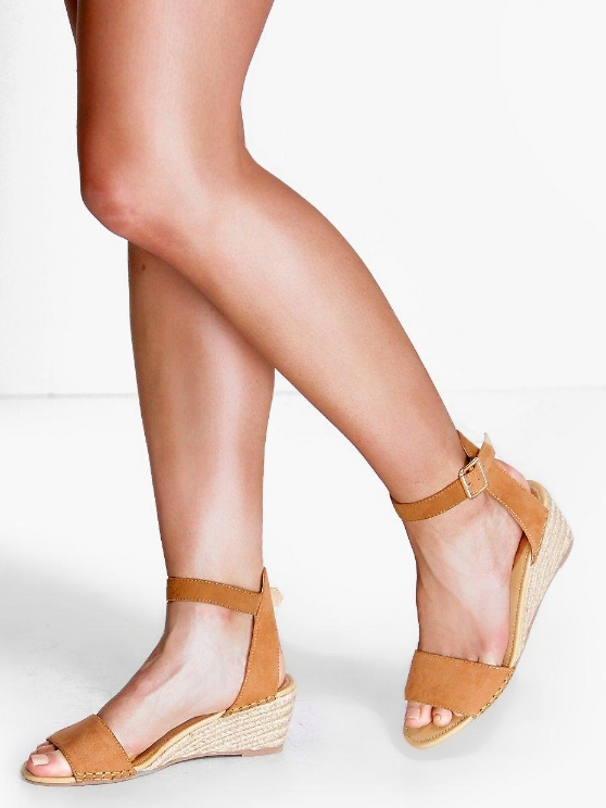 BOOHOO PAIGE SUEDETTE DEMI WEDGE SANDALS  , £18