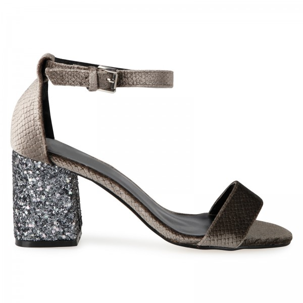 EGO SHOES SOFIA MIDI BLOCK GLITTER HEELS  , £24.99